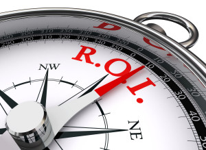 roi red word on concept compass symbol return on investment on white background